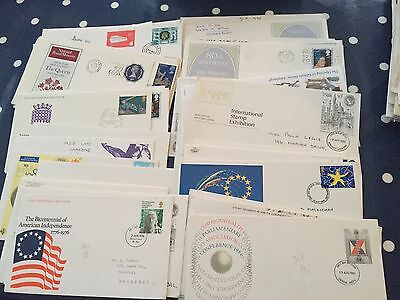 UK random lot of 50 FDC first Day Covers all with single stamps nice lot