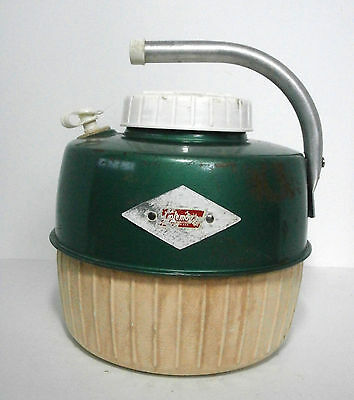 Vintage Coleman Insulated Beverage Jug 1960's Green & White 1 Gallon Thermos