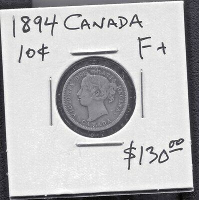 Canada  - Beautiful Historical Qv  Silver 10 Cents, 1894 (Great Date)