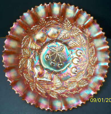 Northwood Pumpkin Three Fruits Carnival Glass PCE Bowl~Super Color & Signed