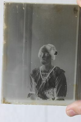 Antique 1900's Glass Plate Negative Photo Victorian Woman With Sour Look