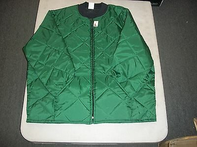 Hunter Green Mens Diamond Nylon Quilted Flight Jacket Coat Size L Xl 2X