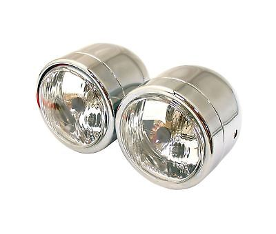 Streetfighter Motorcycle Twin Dominator Headlights Chrome