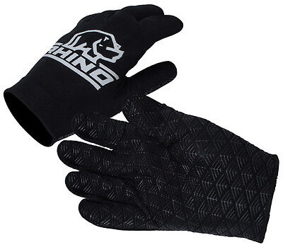 Rhino Pro Full Finger Stick Mitts Rugby Sport Player Hand Protection Glove Black