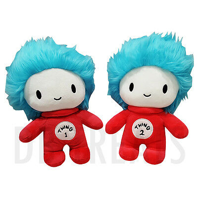 Dr. Seuss Cat in the Hat Thing 1 and Thing 2 plush set by Universal Studios NEW