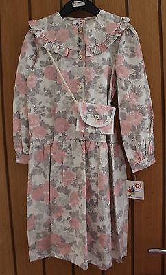 VINTAGE 90s CHEERLEADERS GIRLS COTTON FLORAL DRESS WITH PURSE AGE 5-6 YEARS BNWT