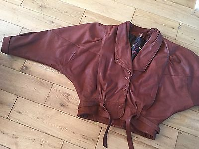 VINTAGE 80s DARK TAN BATWING REAL LEATHER JACKET SIZE M