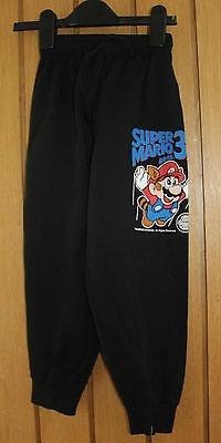 "Vintage 90's Super Mario 3 Black Joggers Size Waist 16-18""  Leg 18.5 Inches New"