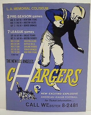 Great Condition! Los Angeles Chargers Vintage AFL Promo Display San Diego NFL