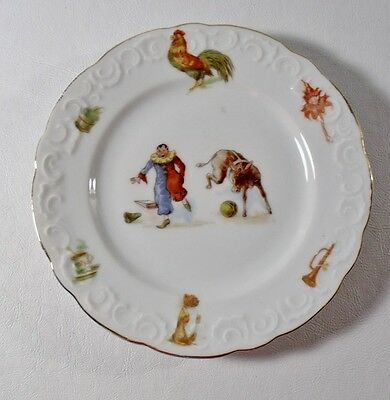 "Antique/Vintage 7"" CHILD'S PLATE Rooster, Donkey, Clown, Horn, etc Gold Trim"