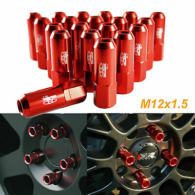20Pcs RED Aluminum Spike Tuner Extended Lug Nuts for Wheels Rims M12 X 1.5 60mm