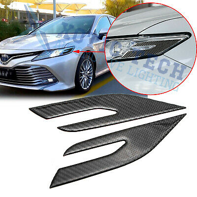 For Toyota Camry 2018-20 Carbon Fiber Front Headlight Eye Edge Cover Trim Decals