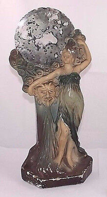 Antique German Berlin 1900 art nouveau girl faun satyr statue plaster mirror