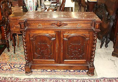 Beautiful French Antique Louis XIII Walnut Marble Top Sideboard.