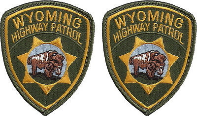 "Hat Size Wyoming Highway Patrol Patches - Pair - 3""T by 2 5/8""W - NEW"