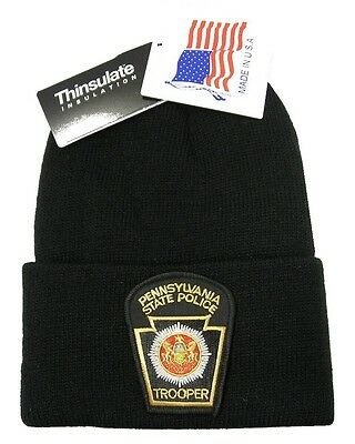 Pennsylvania State Police Patch Knit Cap - 40g Thinsulate Insulation - Black