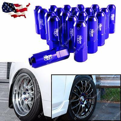 20pcs Blue Aluminum Tuner Extended Lug Nuts for Wheels Rims M12X1.5 60mm