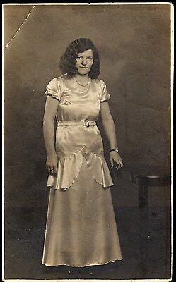 Vintage Postcard  - Lady In Evening Dress - Unposted