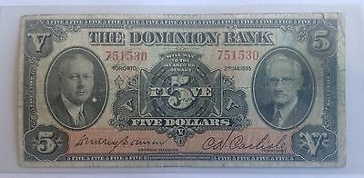 1935 $5 THE DOMINION BANK  of TORONTO