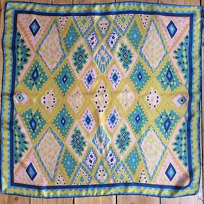 Vintage Silk Scarf Square Hand Rolled Hems 1960s