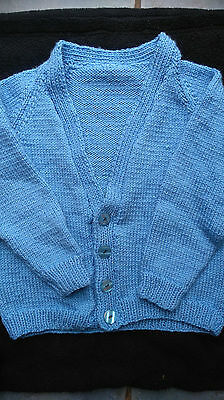 Brand New Hand Knitted Girls Blue Cardigan Age 5-6 Years