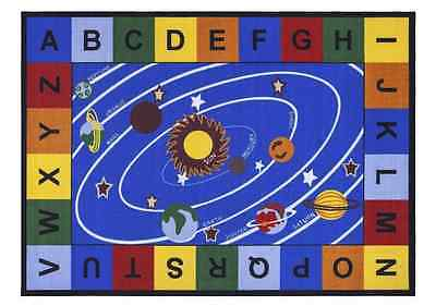 Blue Space Solar System Letters Non Slip Kids Play Area Playroom Bedroom Rug