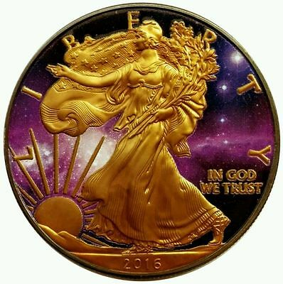 American Silver Eagle Universe Coin ,ruthenium Plated And Gold Gilded, 1Oz, 999