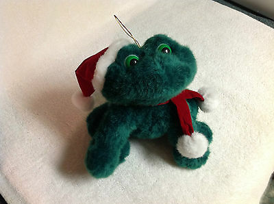 NEW Collectible Stuffed Green Froggie With Red Velvet Santa Hat & Scarf