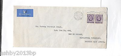 LONDON 1936 6d DOUBLE RATE AIRMAIL COVER TANGANYIKA LONDON F.S/AIRMAIL MACHINE C