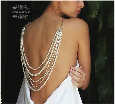 Bridal jewelry set, wedding necklace, Ivory pearl Back Drop Necklace