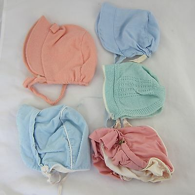 Vintage Baby Bonnet Lot of 5 Infant Hats Pink, Green & Blue