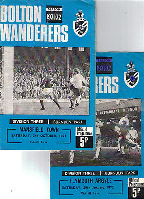 1971/2 Bolton Wanderers v Mansfield Town + Plymouth Argyle