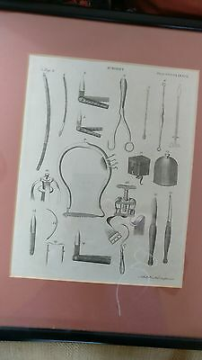 3 Antique Framed Prints of 18th century Surgical instruments