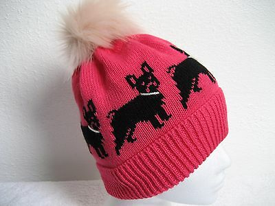 French Bulldog Knitted Cerise Pink Hat With Faux Fur Pompom Adult Size