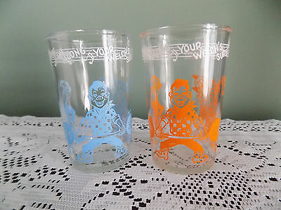 VINTAGE 1953 WELCH'S JELLY HOWDY DOODY JUICE GLASS ADVERTISING Orange & Blue