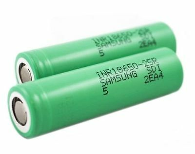 2X Genuine Samsung INR18650-25R 2500mAh - 20A Rechargeable Lion Battery