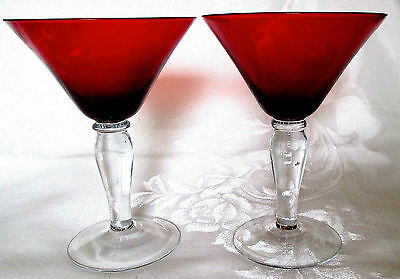 Martini Glasses, Vintage Ruby Red Pair (2) With Bubble Stems