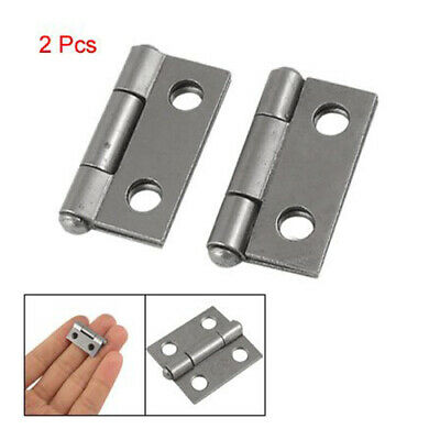 "2x 1"" Long Stainless Steel Butt Hinges Metal Silver Cabinet Drawer Door Small"