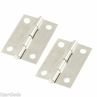 "2x 3"" Long Stainless Steel Butt Hinges Metal Silver Cabinet Drawer Door Small"