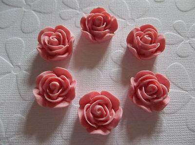 20mm Matte Pink Round Resin Rose - 20mm Flower Cabochons - Qty 6