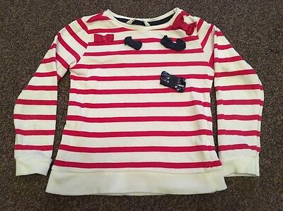 Girls Red & White Striped With Bow Design Jumper Age 3 Years