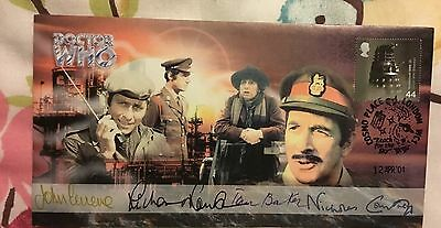 Doctor Who Stamp centre Unit First Day Cover Signed X4.