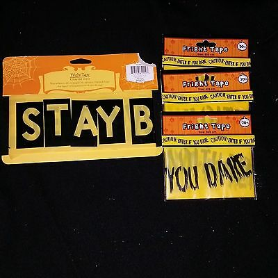 Halloween Party Decoration Prop 20+ft Stay Back Fright Caution Tape New Lot of 4