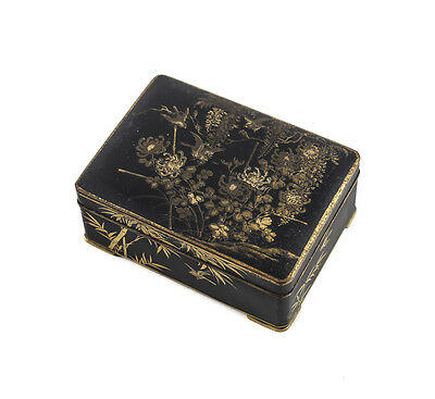 Japanese Hand Chased Black Shakudo and Gold Inlay Box c1900 w/ makers mark