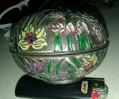 antique 1890-1910 champleve cloisonne emerald green wireworks covered box