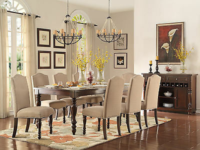 HIGHLAND-9pcs Traditional Cherry Brown Rectangular Dining Room Table Chairs Set