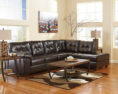REGENCY - 2pcs Brown Bonded Leather Sofa Couch Chaise Sectional Set Living Room