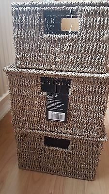 Seagrass & Wire Frame Bathroom Bedroom Storage Boxes