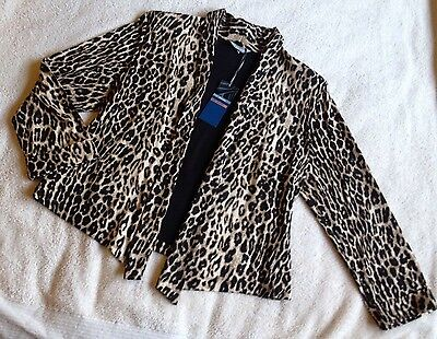 BNWT New M&S Black Beige Animal Print Evening Jacket Size 14 Cost £29.50