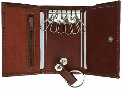 Genuine Leather Men's Key Holder Accessory 6 Key Chain Wallet Case Burgundy
